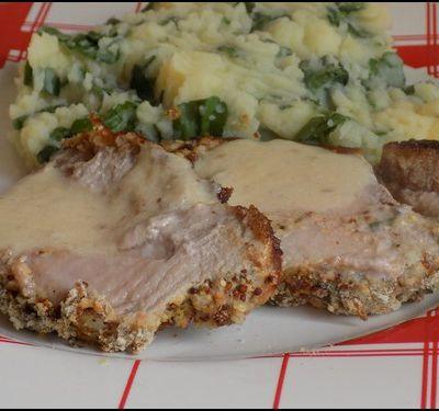 Rôti de porc en croute épicée, purée au cresson