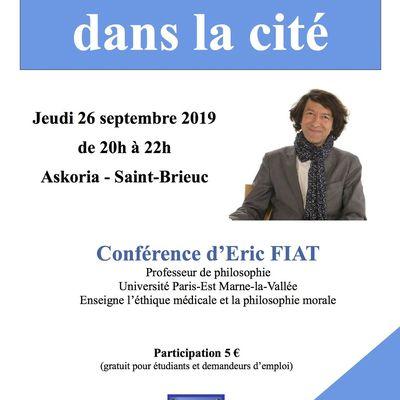 Rappel ! Rendez- vous à Saint Brieuc le jeudi 26 septembre 2019 pour la conférence d'Eric FIAT
