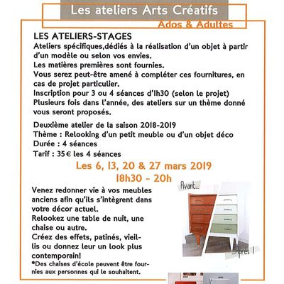 ATELIERS STAGES  ARTS CREATIFS