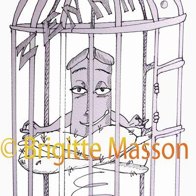 Mes dessins - Après la ceinture de chasteté, voici la cage pour sexe masculin dominateur.