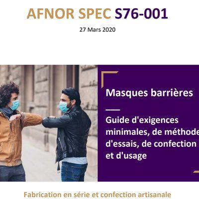 réaliser des masques en tissus - AFNOR SPEC S76-001