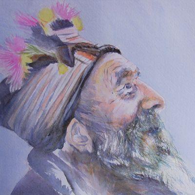Aquarelle: le vieil homme au chapeau de fleur 2