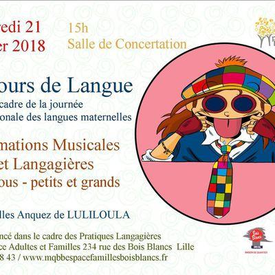 78 tours de langue (Musique/Création/Pratiques Langagières) - Salle de concertation  Lille Bois Blancs Mercredi 21 février 2018 15h