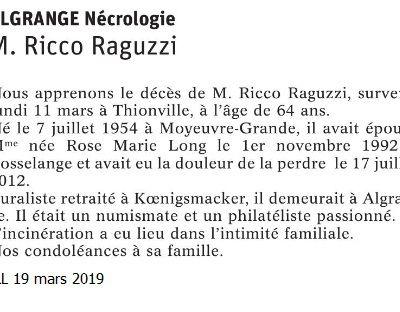 Décès en 2019 à Algrange ou d'anciens algrangeois (es)
