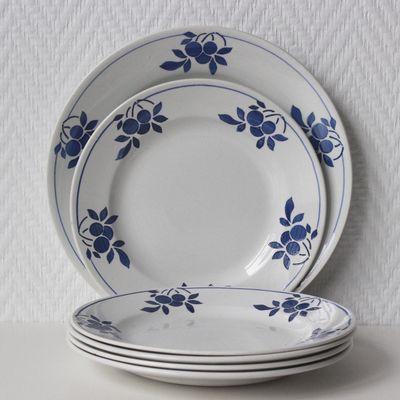 Lot de 5 assiettes à dessert Nelly décor bleu Vintage