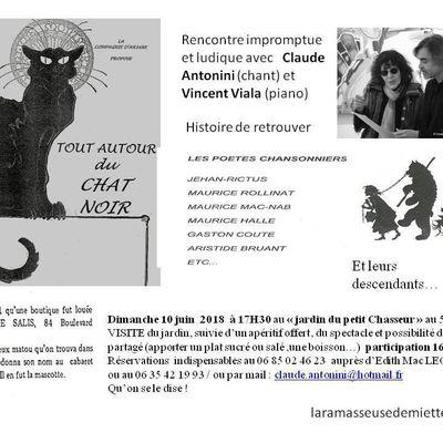 Tout autour du CHAT NOIR : Claude Antonini et Vincent Viala le 10 juin au Jardin du Petit Chasseur d'Orléans
