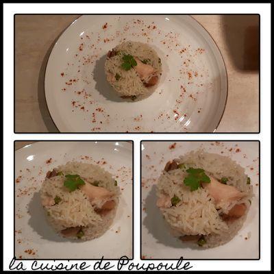 Risotto escalope de poulet, champignons et petits pois