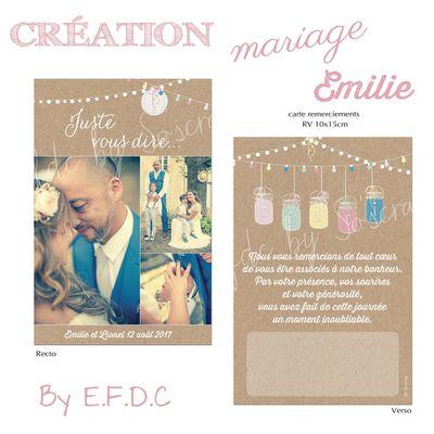 La carte de remerciements du mariage d'Emilie et Lionel ... très romantique