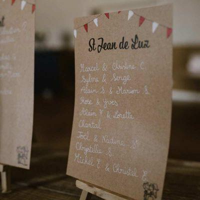 Les options de table assorties au faire part de mariage de Laurie et Bertrand ... thème féria