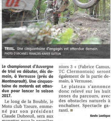 TRIAL de VERNUSSE / Articles de La Montagne