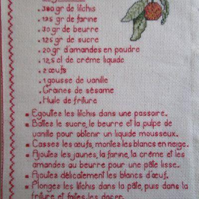 Livre Recettes Brodées de Mamigoz: les beignets de litchis
