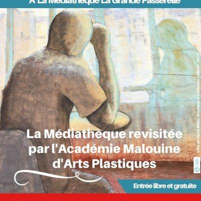 LA MÉDIATHÉQUE REVISITÉE PAR l'ACADÉMIE MALOUINE D'ARTS PLASTIQUES EN IMAGES