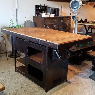 TABLE MANGE DEBOUT - DESIGN INDUSTRIEL - FORGE XIXème :