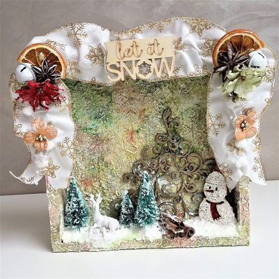 """Let it Snow"" - Altered wooden box"
