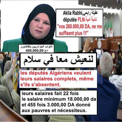 Algérie, APN, les députés perçoivent 22 fois le snmg !!! لنعيش معكم في سلام