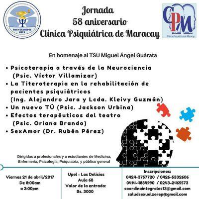 JORNADA CIENTÍFICA 58 ANIVERSARIO DE LA CLÍNICA PSIQUIÁTRICA DE MARACAY ARAGUA VENEZUELA 2017
