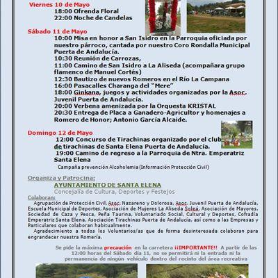 Programa de Actos Romería San Isidro Santa Elena 2019
