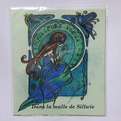 carte de voeux de style art nouveau réalisées au pastel sec