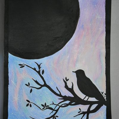 bird watching the moon
