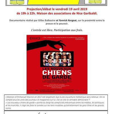 """La projection du film """"Les Nouveaux Chiens de garde"""" le vendredi 19 avril 2019 sur la liberté de la presse par les Filets Jaunes de Nice Garibaldi"""