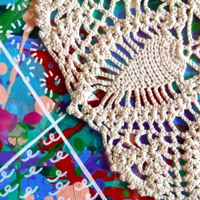 Off direct object, a rejected doily...