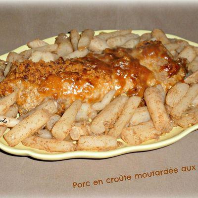 Porc en croûte moutardée aux salsifis
