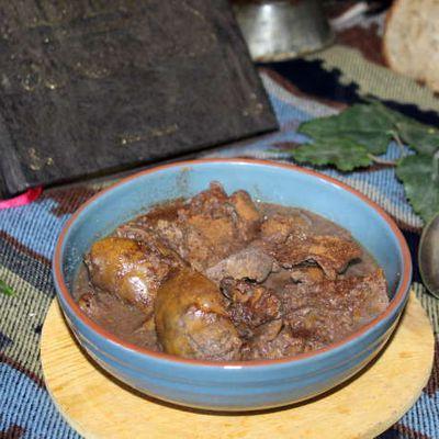 Civet de foies de volaille bicolore