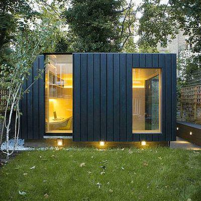 Enigmatic cedar-clad garden office doubles as yoga studio & playroom