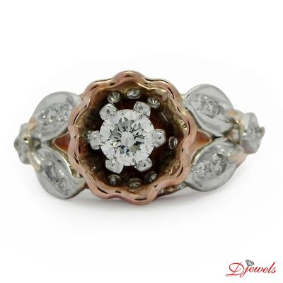 Flower Shape Diamond Engagement Ring Iacchus