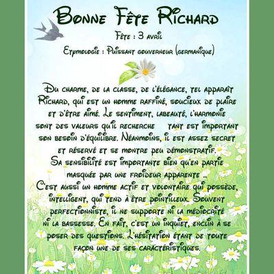 Carte Bonne Fête Richard - 3 avril