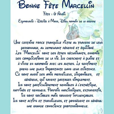 Carte Bonne Fête Marcellin - 6 avril