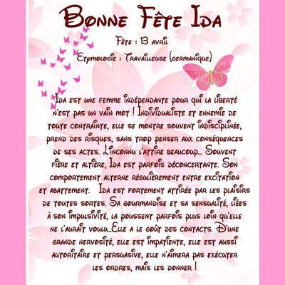Carte Bonne Fête Ida - 13 avril