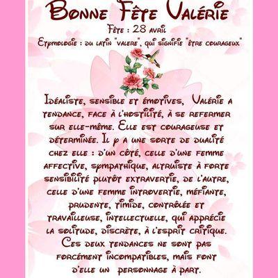 Carte Bonne Fête Valérie - 28 avril