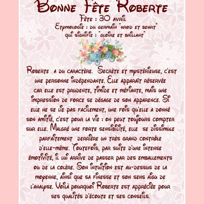 Carte Bonne Fête Roberte - 30 avril
