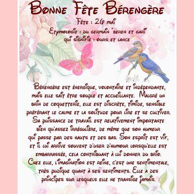 Carte Bonne Fête Bérangère - 26 mai