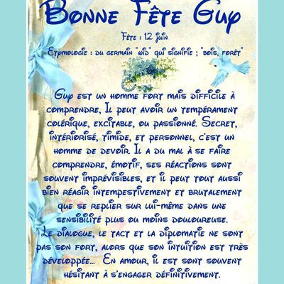 Carte Bonne Fête Guy - 12 juin