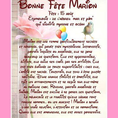 Carte Bonne Fête Marion - 15 août
