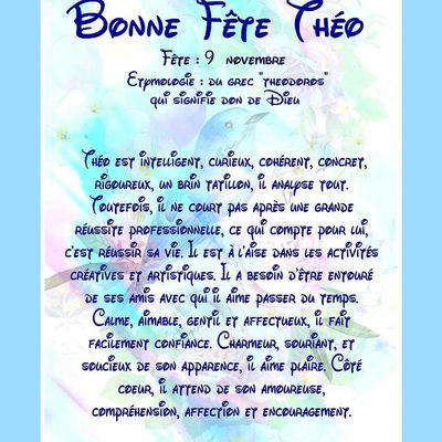 Carte Bonne Fête Théo - 9 Novembre