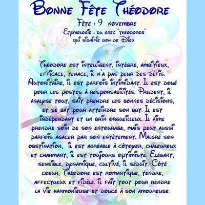 Carte Bonne Fête Théodore - 9 Novembre
