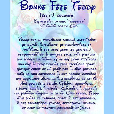 Carte Bonne Fête Teddy - 9 Novembre