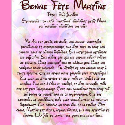 CarteBonne Fête Martine - 30 janvier