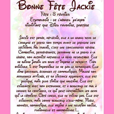 CarteBonne Fête Jackie - 8 février