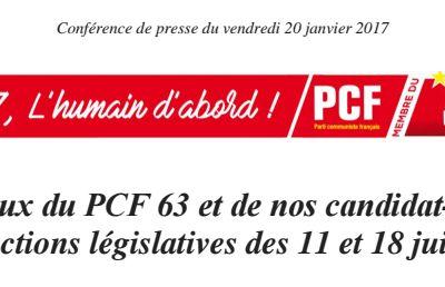 Voeux du PCF 63 et de nos candidat-e-s aux élections législatives des 11 et 18 juin 2017