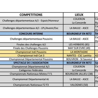 Calendriers compétitions / manifestations 2018