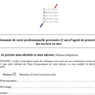 Demande de carte professionnelle provisoire (1 an) d'agent de protection des navires en mer