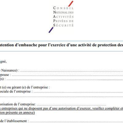 Modèle de lettre d'intention d'embauche pour l'exercice d'une activité de protection des navires