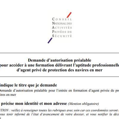 Formulaire de demande d'autorisation préalable : Formation  pour devenir agent privé de protection des navires en mer