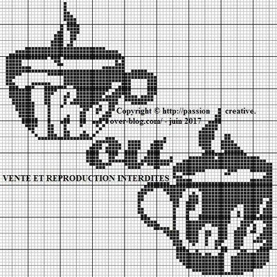 Grille gratuite point de croix : Thé ou café monochrome noir 1