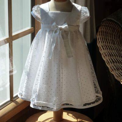 """robe de baptême """"Blanche"""" coton et plumetis"""