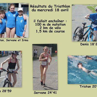 RESULTATS DU TRIATHLON DU 18 AVRIL A L'ODYSSEE DE CHARTRES